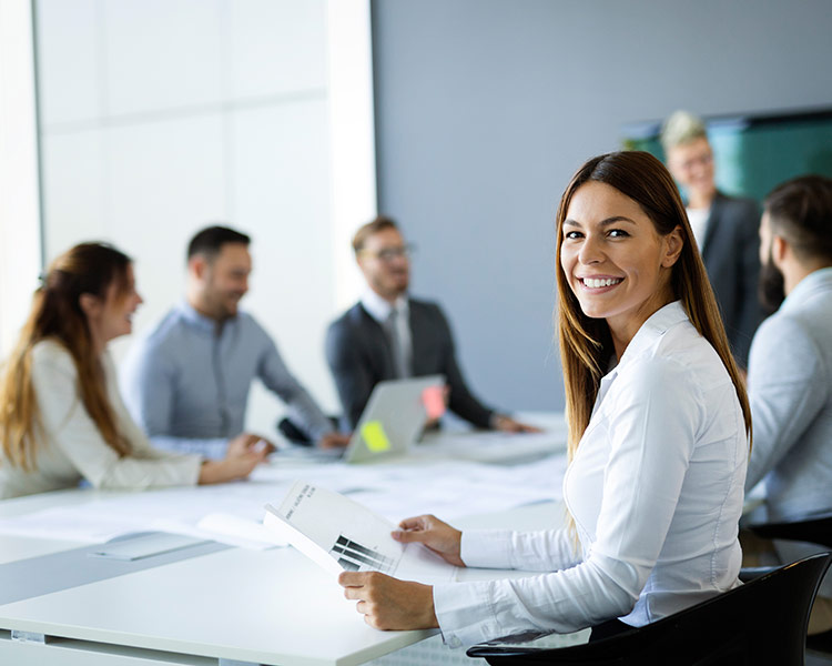 business person woman at a team meeting